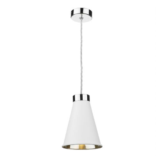 Hyde 1 Light Pendant Chrome + Arctic White Metal Shade HYD0102C (7-10 day Delivery)